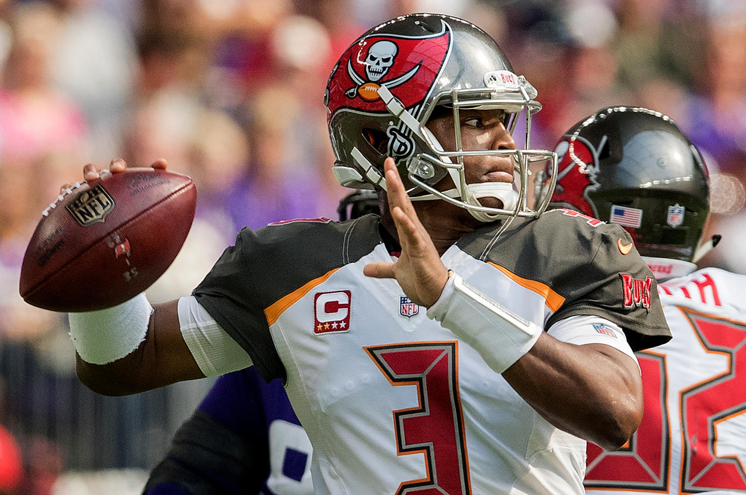 Tampa Bay quarterback Jameis Winston (3) attempts a pass in the first quarter against the Minnesota Vikings at U.S. Bank Stadium in Minneapolis on Sept. 24, 2017. (Carlos Gonzalez/Minneapolis Star Tribune/TNS)
