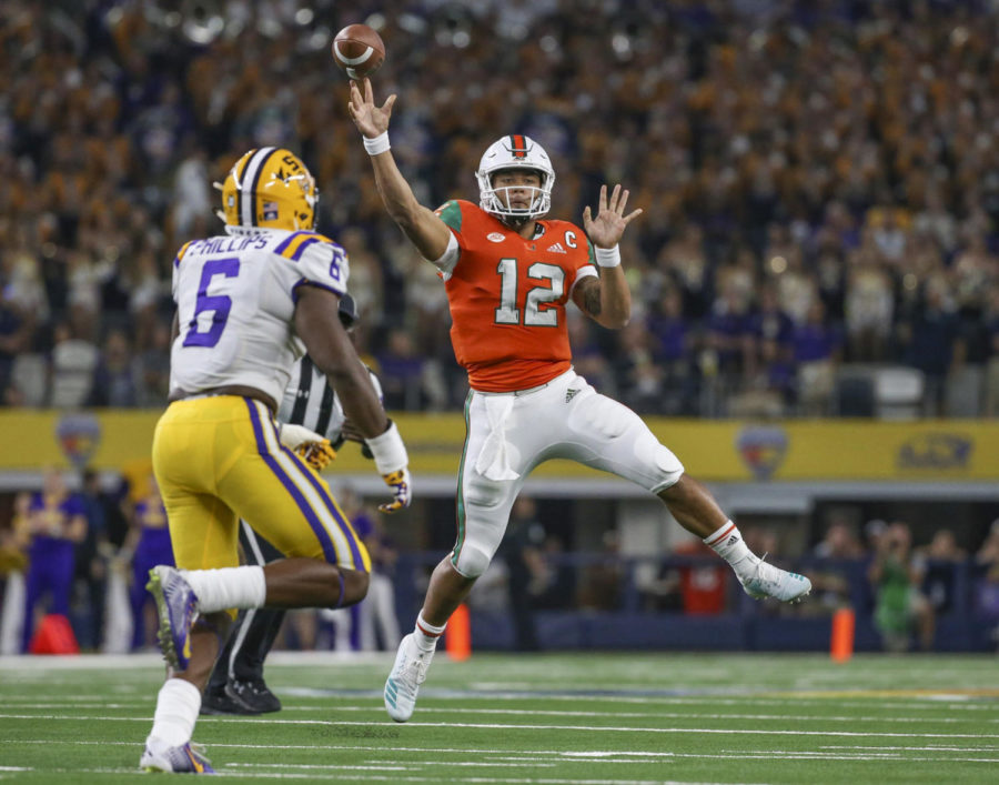 Miami Hurricanes quarterback Malik Rosier (12) throws a pass in the first quarter against the LSU Tigers during the AdvoCare Classic on Sept. 2 at AT&T Stadium in Arlington, Texas. (Al Diaz/Miami Herald/TNS)