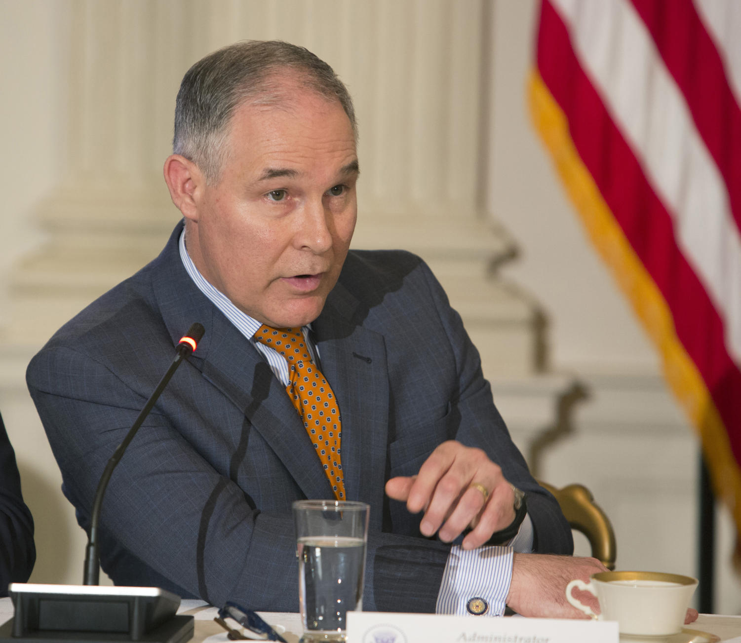 Former Environmental Protection Agency Administrator Scott Pruitt participates in a meeting with state and local officials regarding the Trump infrastructure plan on Feb. 12, 2018, at the White House in Washington, D.C. The EPA wants to quicken the pace of deregulations. (Chris Kleponis/CNP/Zuma Press/TNS)
