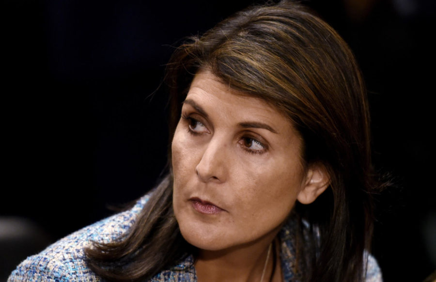 U.N.+ambassador+Nikki+Haley+attends+Mike+Pompeo%27s+confirmation+hearing+before+the+Senate+Foreign+Relations+Committee+on+April+12%2C+2018+in+Washington%2C+D.C.+Haley+has+resigned%2C+White+House+officials+said.+%28Olivier+Douliery%2FAbaca+Press%2FTNS%29