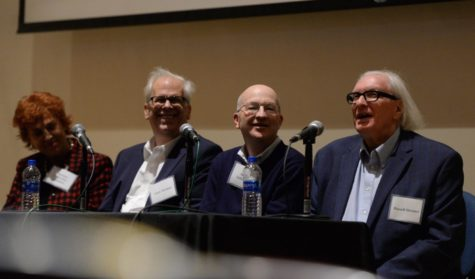 "Panelists Suzanne Desrocher-Romero, Gary Streiner, Steven Schlozman and Russell Streiner speak at the ""Reflections on Romero"" event on Friday. They shared memories of the legendary filmmaker George A. Romero — who is known for directing ""Night of the Living Dead."""
