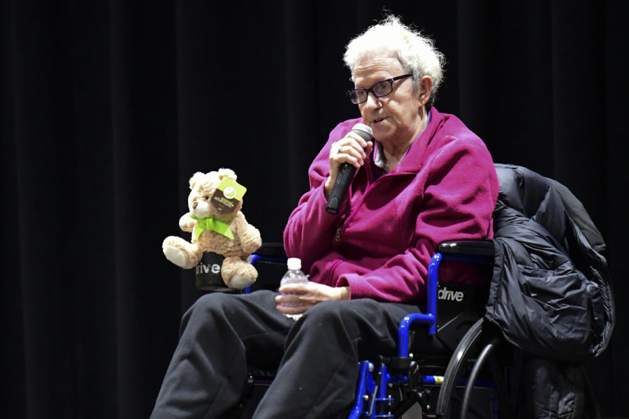 Shulamit Bastacky — a Lithuanian Holocaust survivor — spoke to a crowded room of Pitt community members in the William Pitt Union Sunday evening.