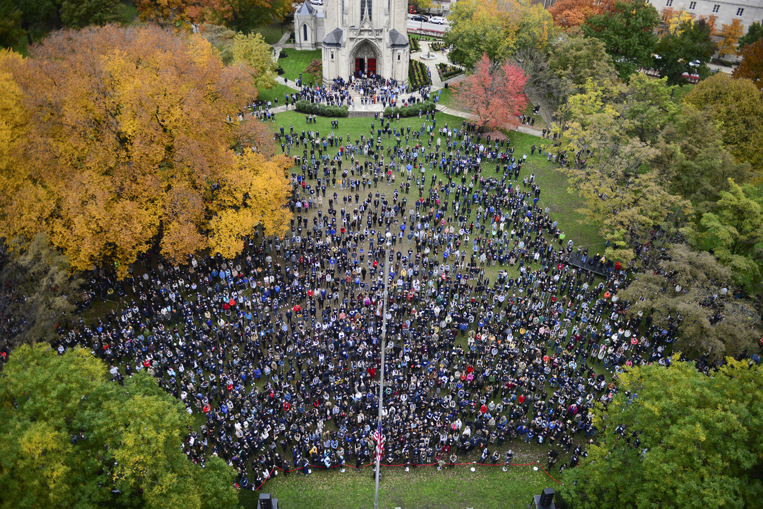 Close to 3,000 people attended the Stronger than Hate vigil on the Cathedral of Learning Lawn Monday afternoon.