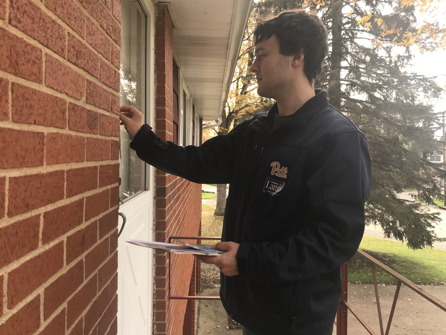 Pitt College Democrats President Alex Rose canvasses for Conor Lamb — the Democratic candidate for Pennsylvania's 18th Congressional District — in Penn Hills Sunday afternoon.