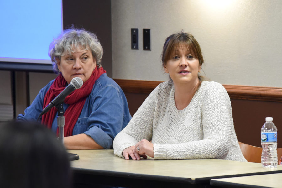 """Trisha Margiotti (right), a Panther Central off-campus living specialist, speaks about when students should start searching for housing at Tuesday evening's """"Off-campus Student Rental Workshop."""""""