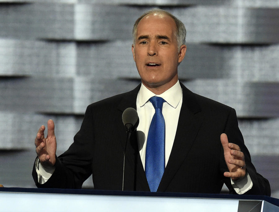 Pennsylvania Sen. Bob Casey address delegates during the 2016 Democratic National Convention on Monday, July 25, 2016 at the Wells Fargo Center in Philadelphia, Pa. (Clem Murray/Philadelphia Inquirer/TNS)