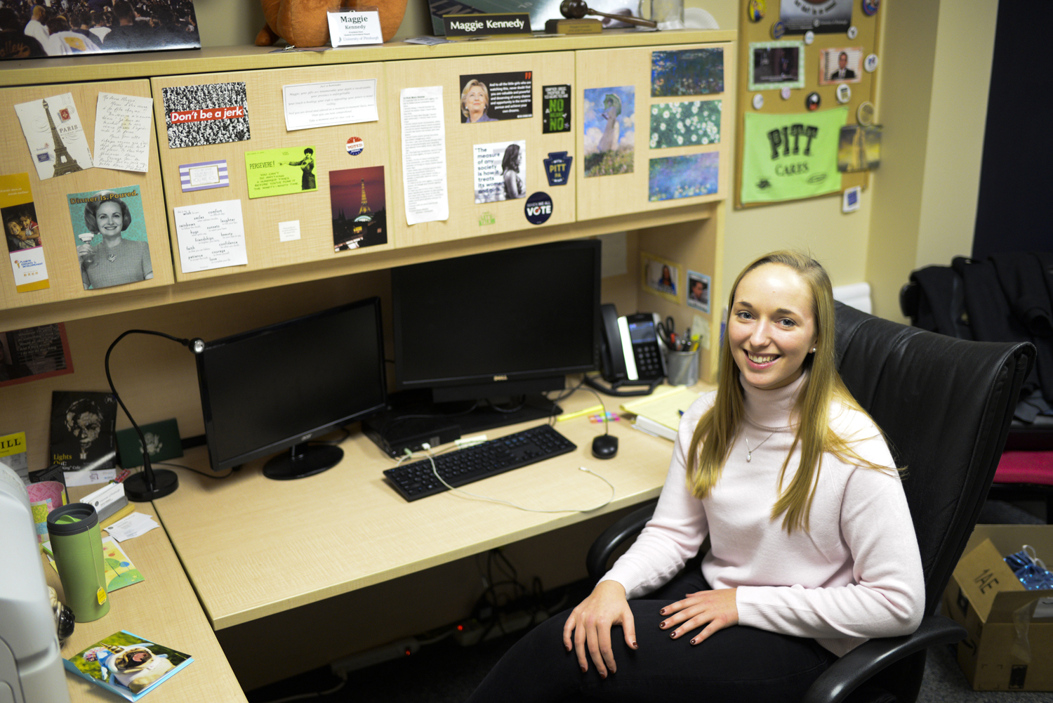 The office of SGB President Maggie Kennedy is decorated with quotes from women like Hillary Clinton and Michelle Obama. Kennedy is a planning committee member for the Pitt Women's Leadership Experience this year.