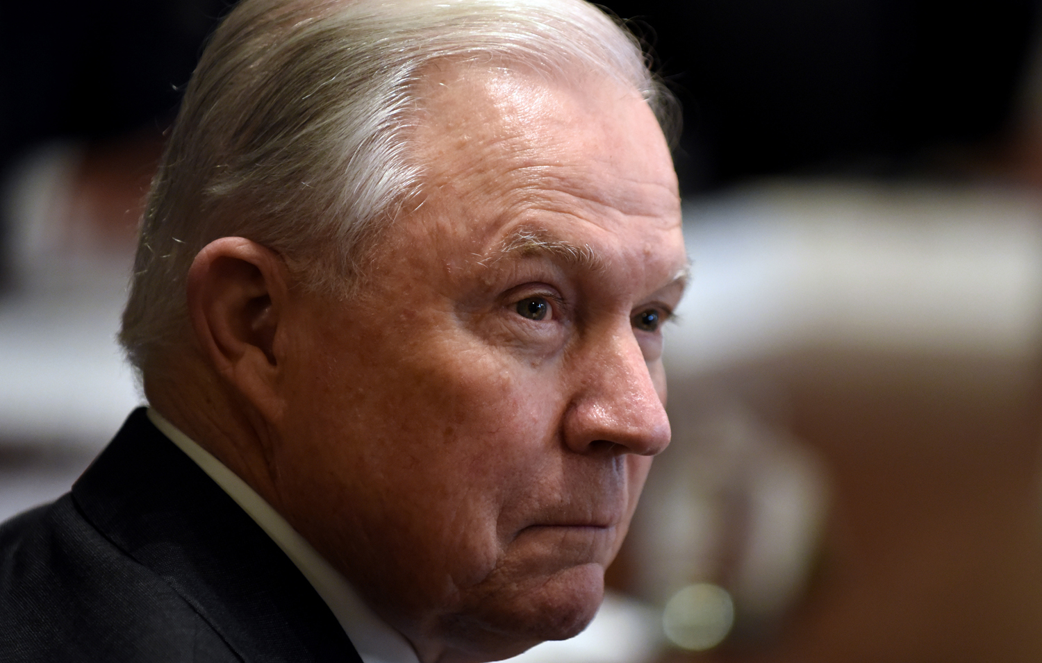 Attorney General Jeff Sessions looks on during a cabinet meeting in the Cabinet Room at the White House on Oct. 17.