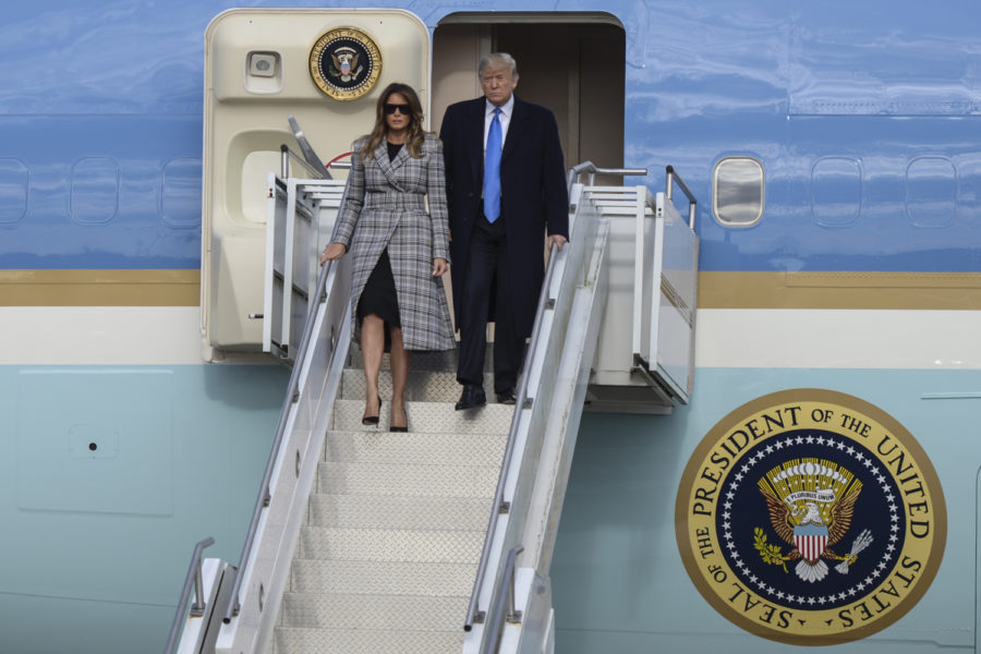President+Donald+Trump+and+First+Lady+Melania+Trump+disembark+from+Air+Force+One+in+Coraopolis+around+4+p.m.+on+Tuesday.