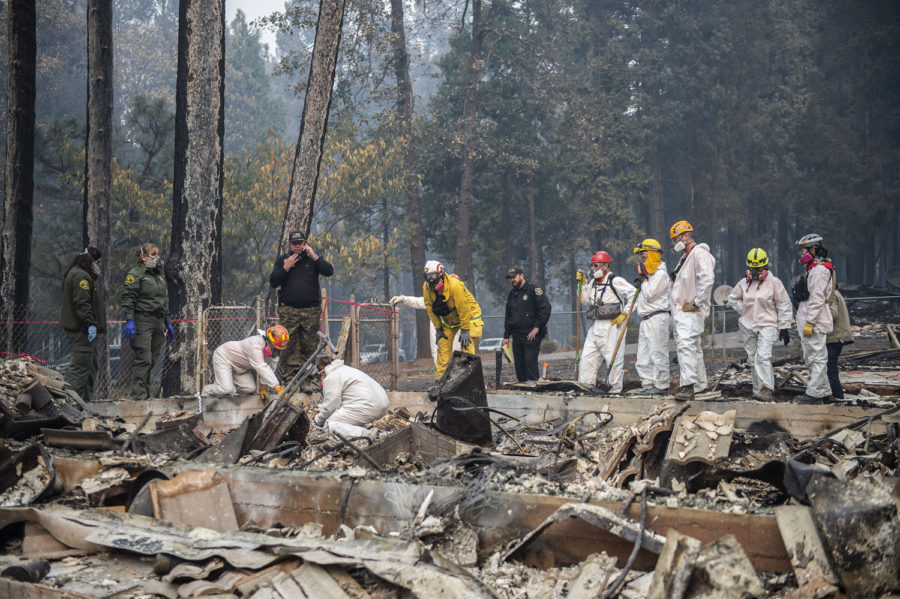 An El Dorado County search and rescue team looks for the remains of a body in Magalia's West Park Drive on Thursday after the Camp Fire burned many homes in the area.