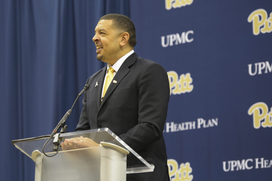Head+coach+Jeff+Capel+spoke+about+his+previous+qualifications+and+excitement+to+begin+working+with+the+men%E2%80%99s+basketball+team+in+the+2018-19+season+at+a+press+conference+in+March.
