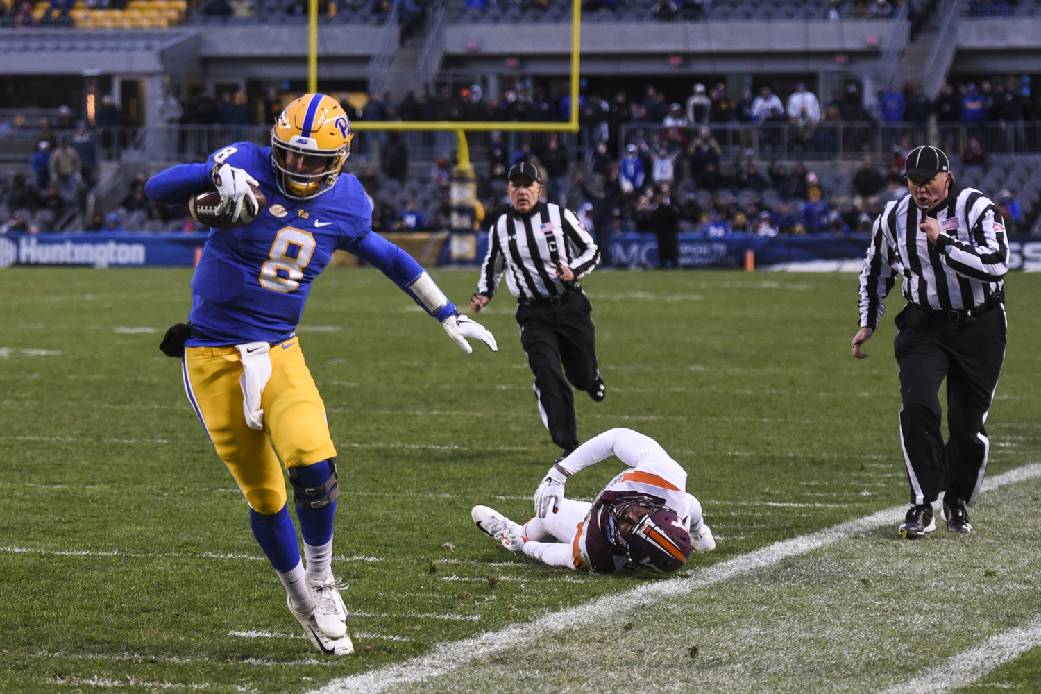 Sophomore quarterback Kenny Pickett, pictured here against Virginia Tech , led all players with 136 passing yards in Pitt's Sun Bowl loss to Stanford.