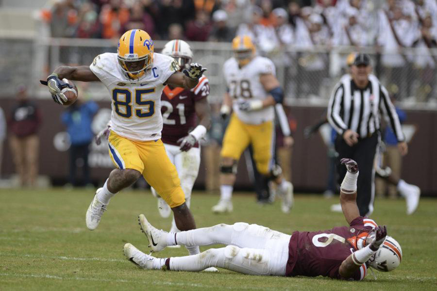 Then Pitt receiver Jester Weah broke a tackle before running to the 1-yard line in the final minutes of the Panthers' loss to Virginia Tech in 2017.