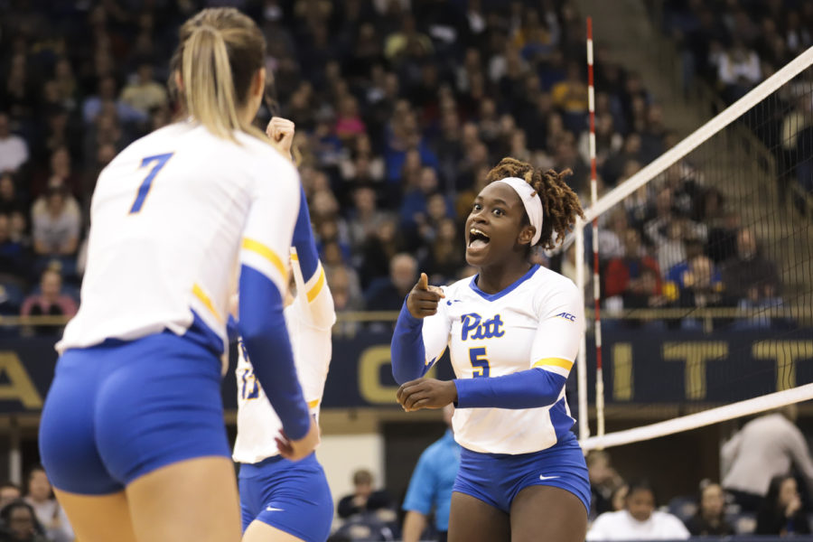 Sophomore+Chinaza+Ndee+celebrates+during+the+Panthers%E2%80%99+3-0+victory+over+Georgia+Tech+on+Wednesday.