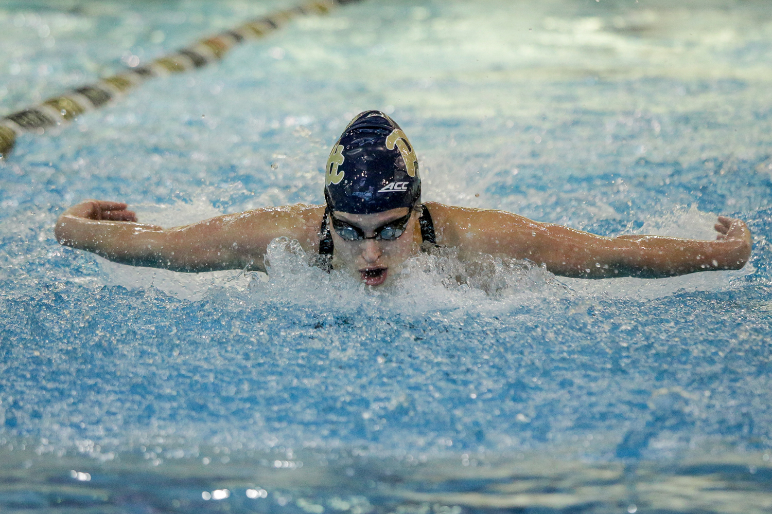 Junior Valerie Daigneault competes in the 100-yard fly at the Western PA Invite on Jan. 27.