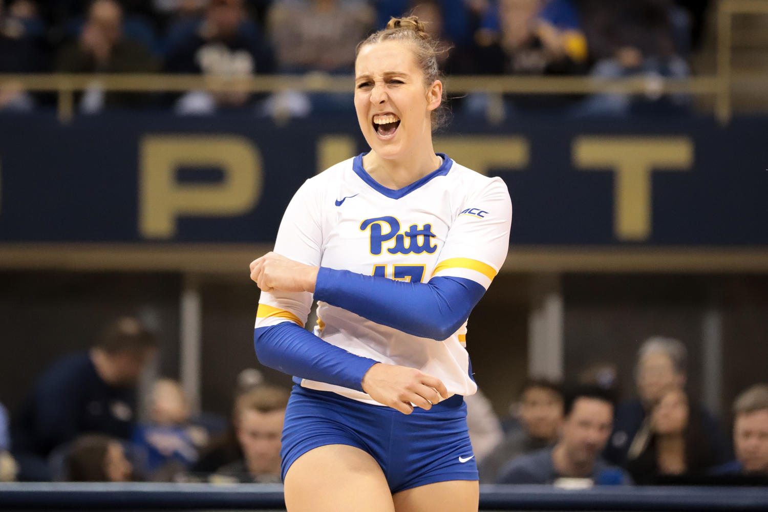 Junior right side hitter Nika Markovic (17) celebrates during Pitt volleyball's 3-0 victory over Georgia Tech.