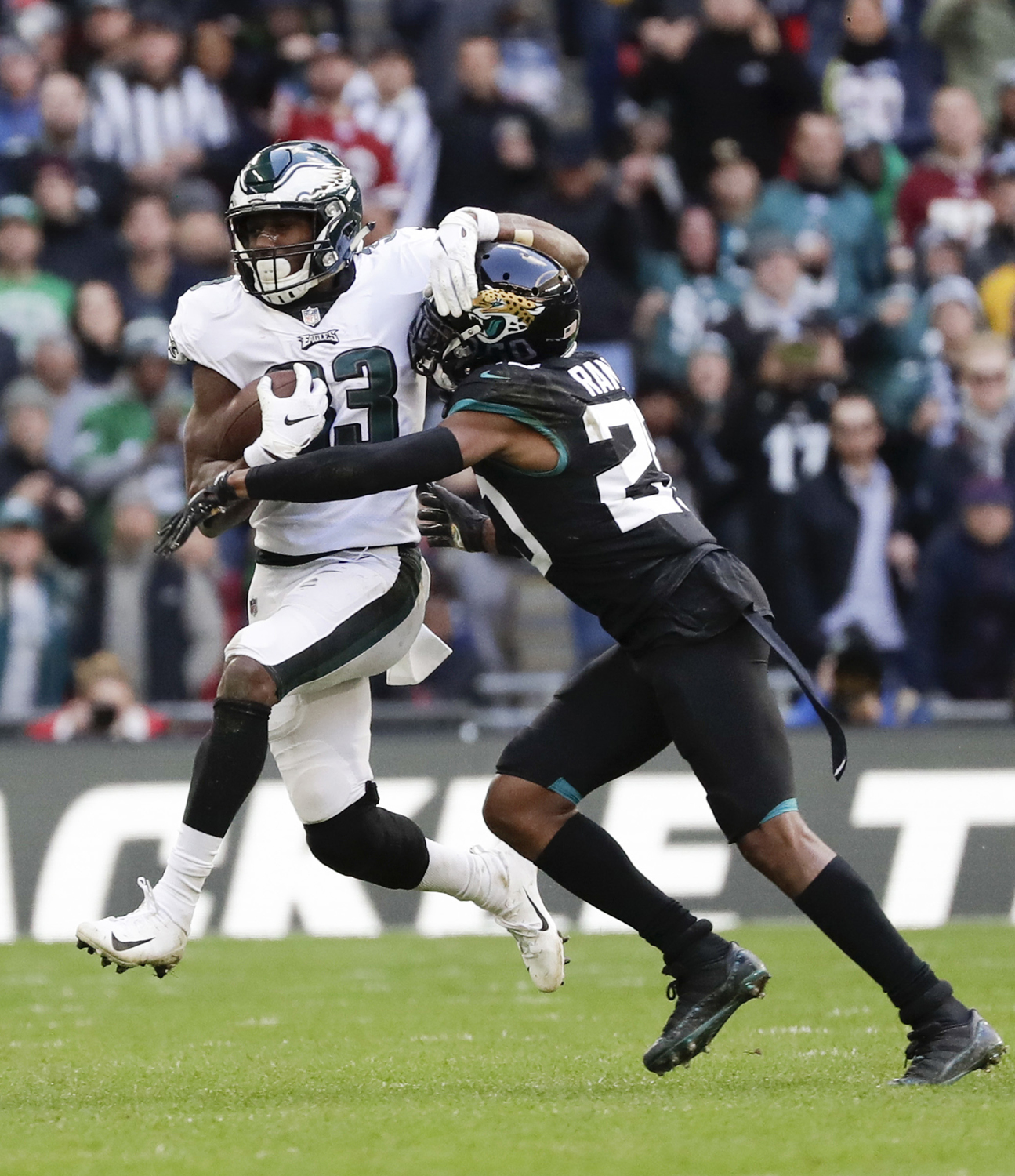 Philadelphia Eagles running back Josh Adams runs against Jacksonville Jaguars cornerback Jalen Ramsey during the third quarter on Oct. 28.