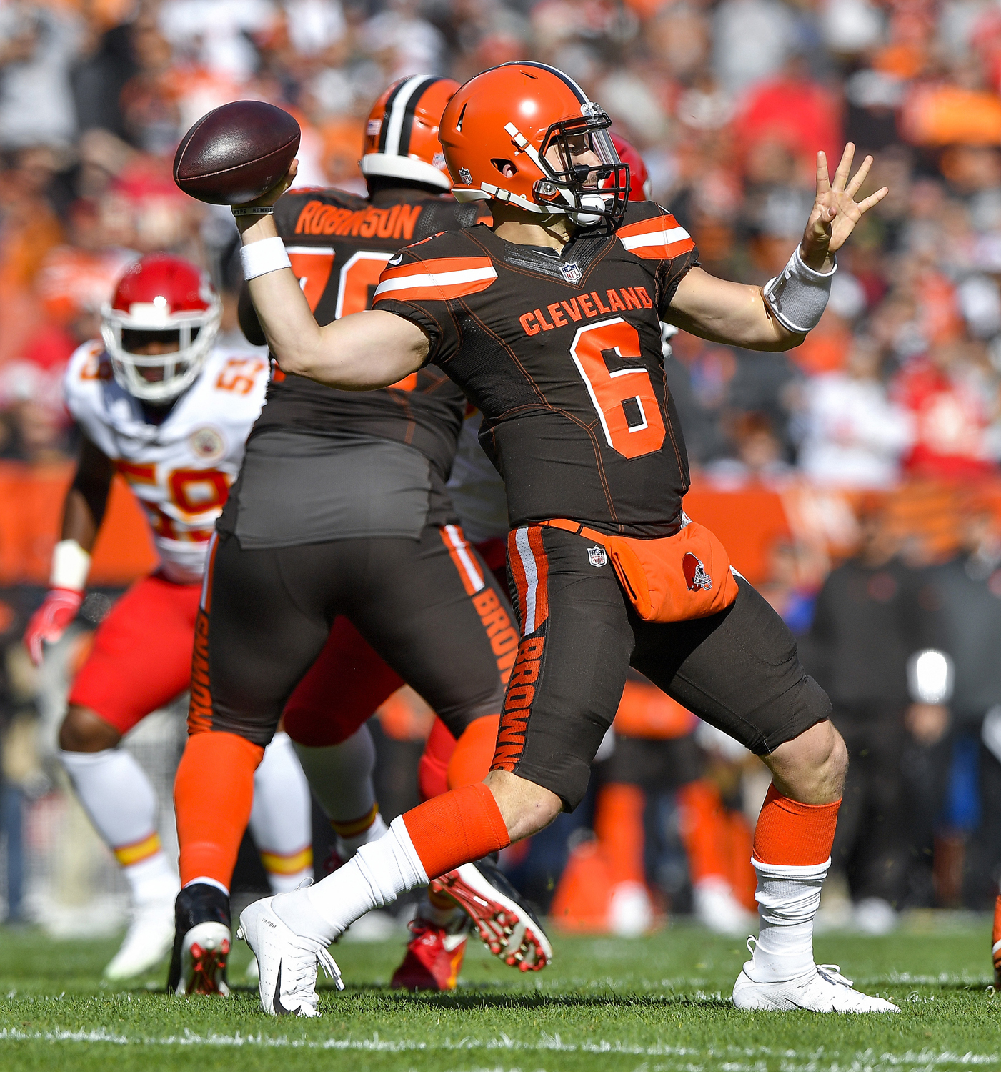 Cleveland Browns quarterback Baker Mayfield throws in the first quarter against the Kansas City Chiefs on Sunday at FirstEnergy Stadium in Cleveland.