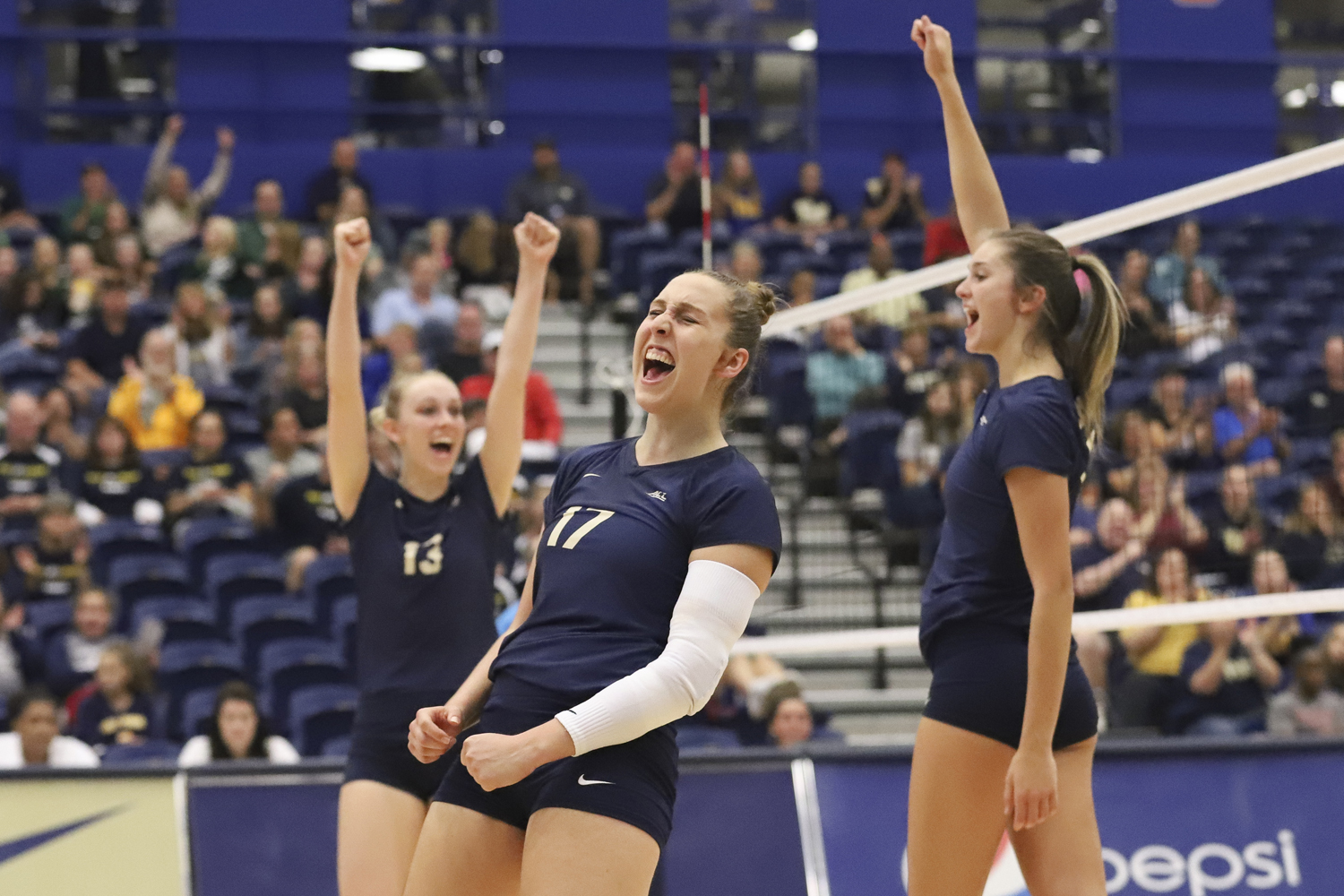 Sophomore Nika Markovic celebrates with teammates during the team's Sept. 30 victory against Florida State.