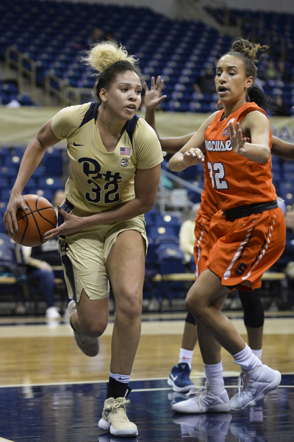 Then-junior Kalista Walters defends against Syracuse in a February game at the Petersen Events Center.