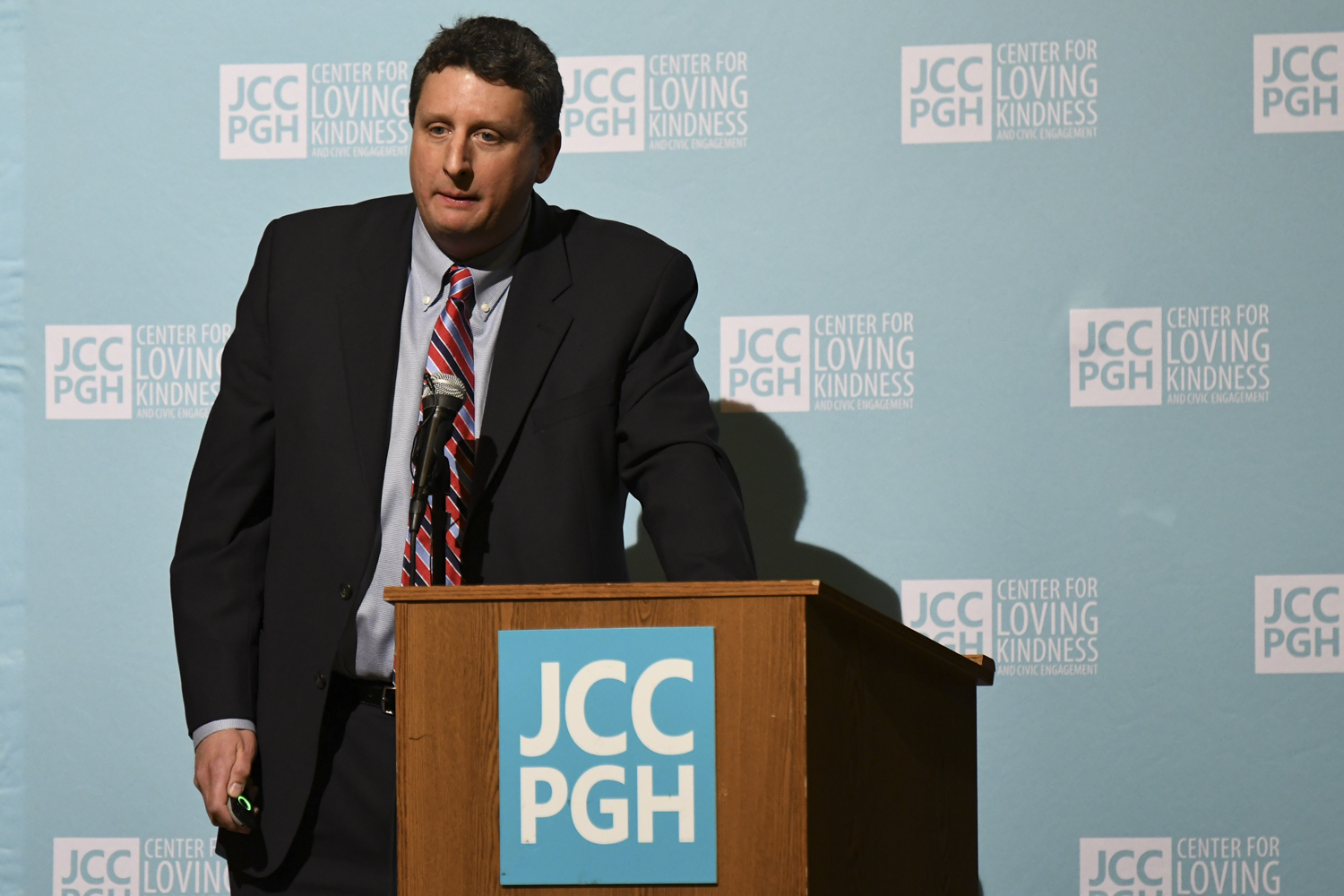 Mathew Mehalik, PhD, executive director of the Breathe Project, speaks at the Protecting Our Communities environmental panel about air quality and plastic pollution in Pittsburghat the Jewish Community Center Thursday night.
