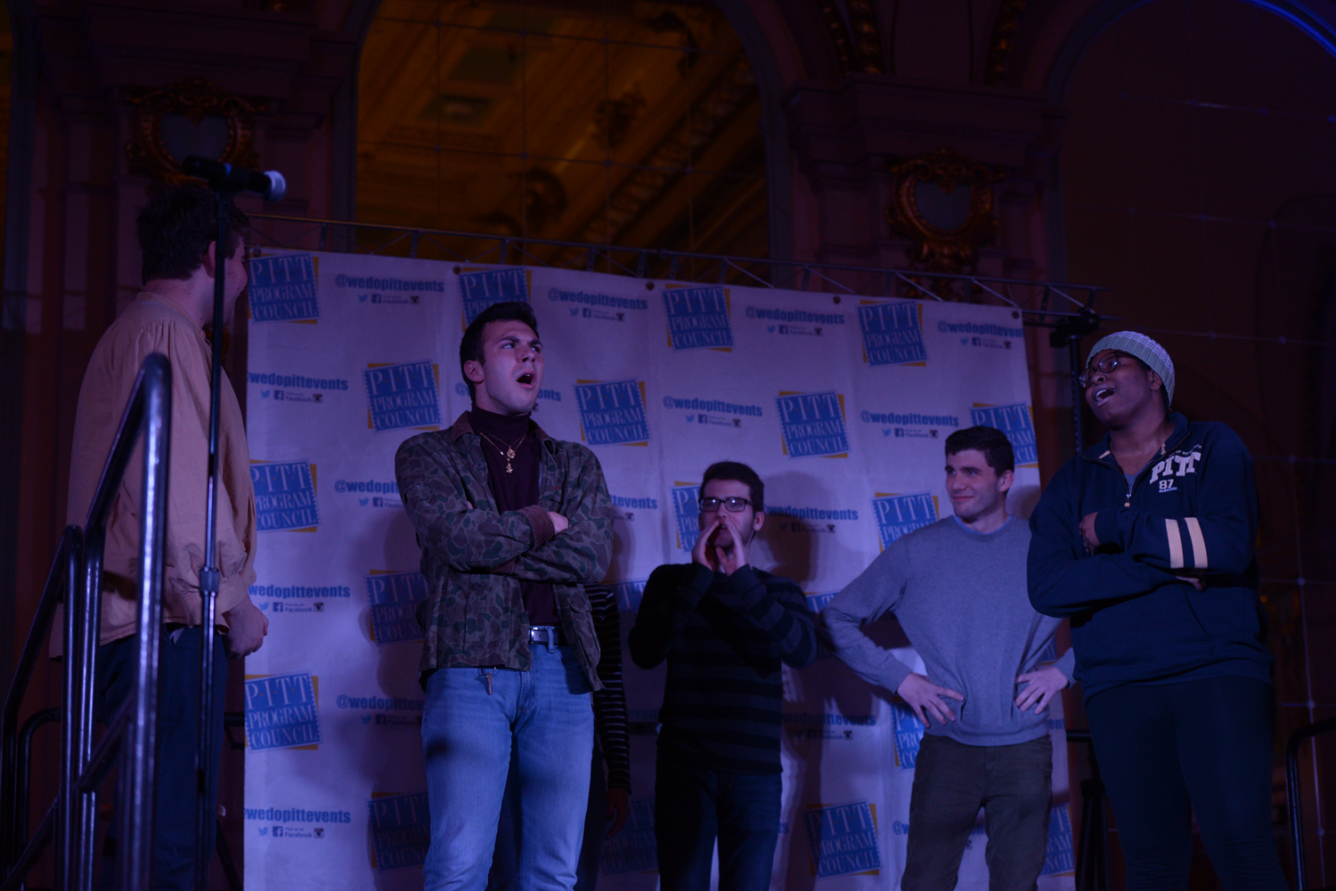 "Student improvisational comedy group, Ruckus, performed an improvised skit Wednesday night for Pitt Program Council's ""So You Think You're Funny"" comedy competition. The group was founded January 2013."