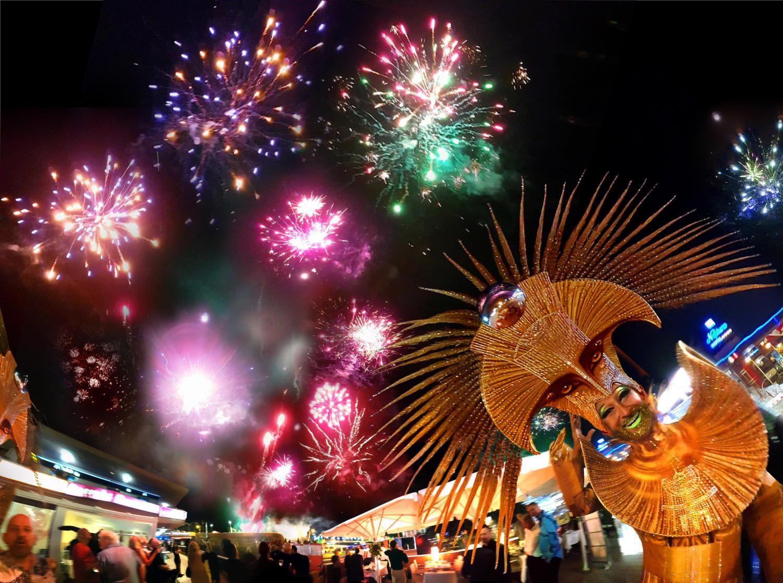 People celebrate New Year's Eve in Playa del Inglés, Spain.