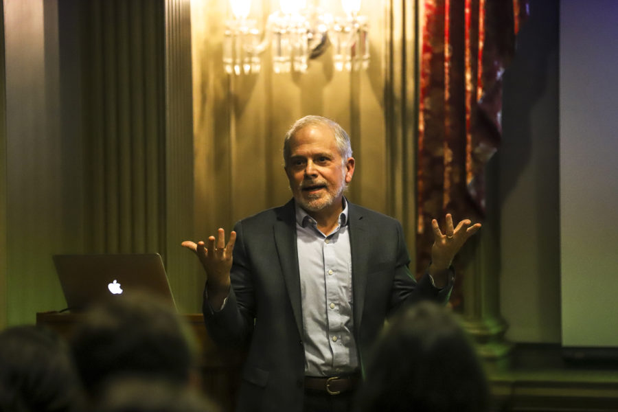 """Dr. Peter Blier — a pediatric rheumatology physician and professor of pediatrics at the University of Massachusetts — used """"Harry Potter"""" to lecture on genetics in the Cathedral of Learning Monday evening."""