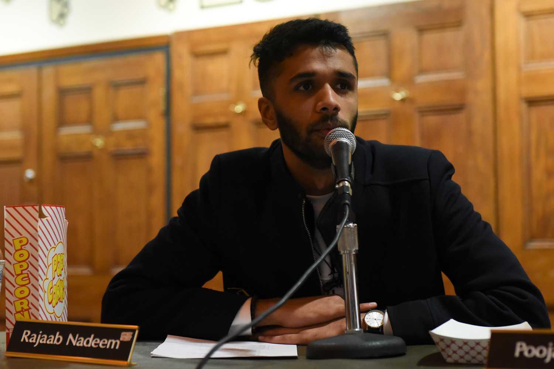 Board member Rajaab Nadeem discusses gun regulations at SGB's weekly meeting Tuesday evening.