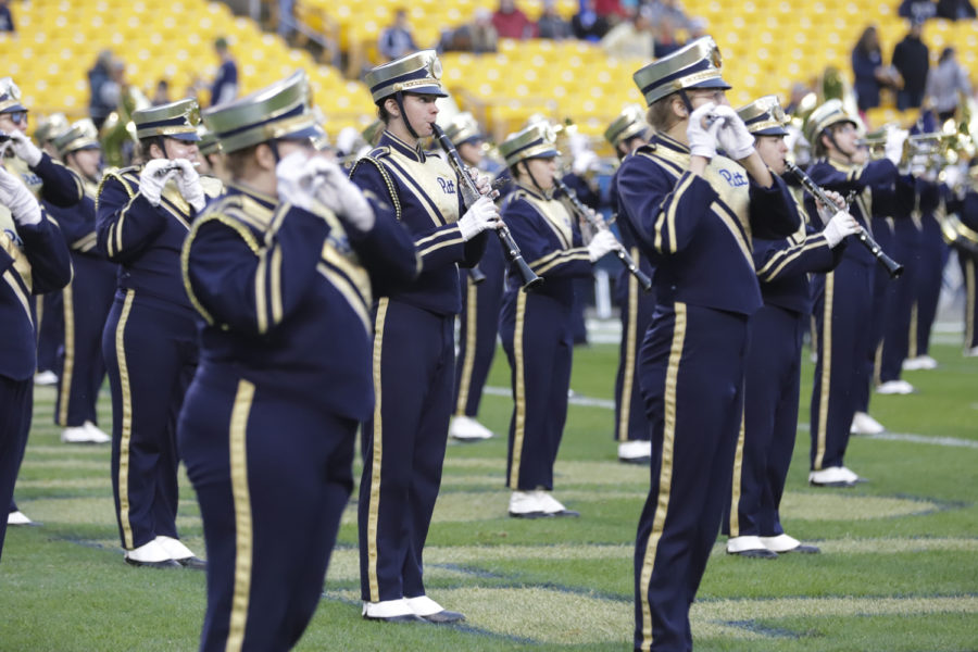 The+woodwind+section+of+Pitt%E2%80%99s+marching+band+performs+at+Heinz+Field+during+a+break+in+the+Panthers%E2%80%99+game+against+Duke+on+Oct.+27.+
