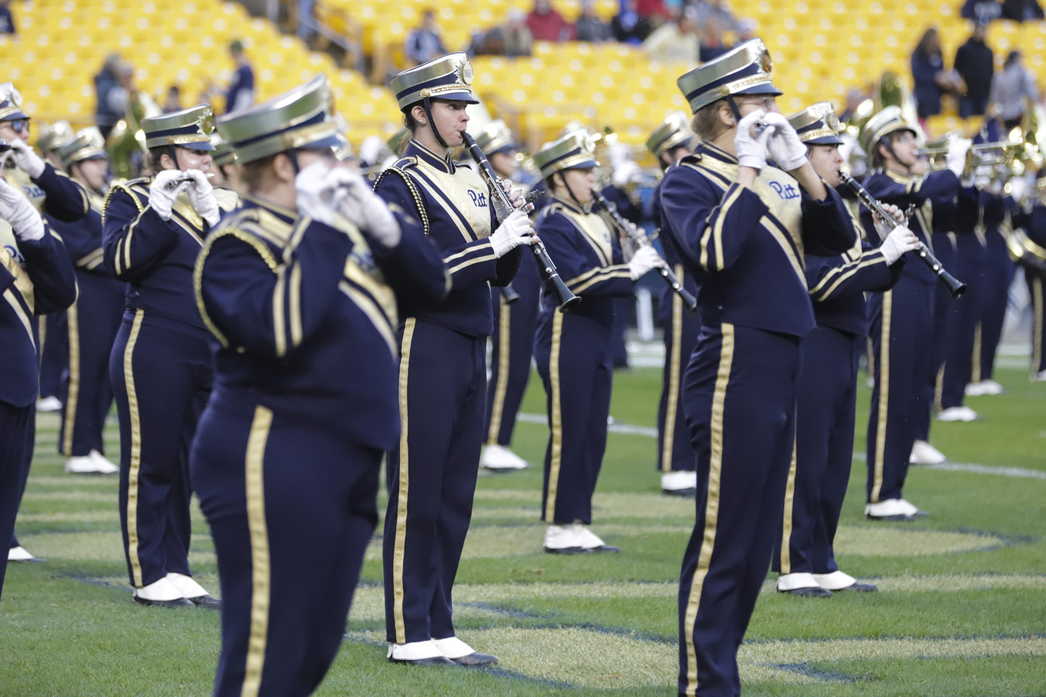 The woodwind section of Pitt's marching band performs at Heinz Field during a break in the Panthers' game against Duke on Oct. 27.