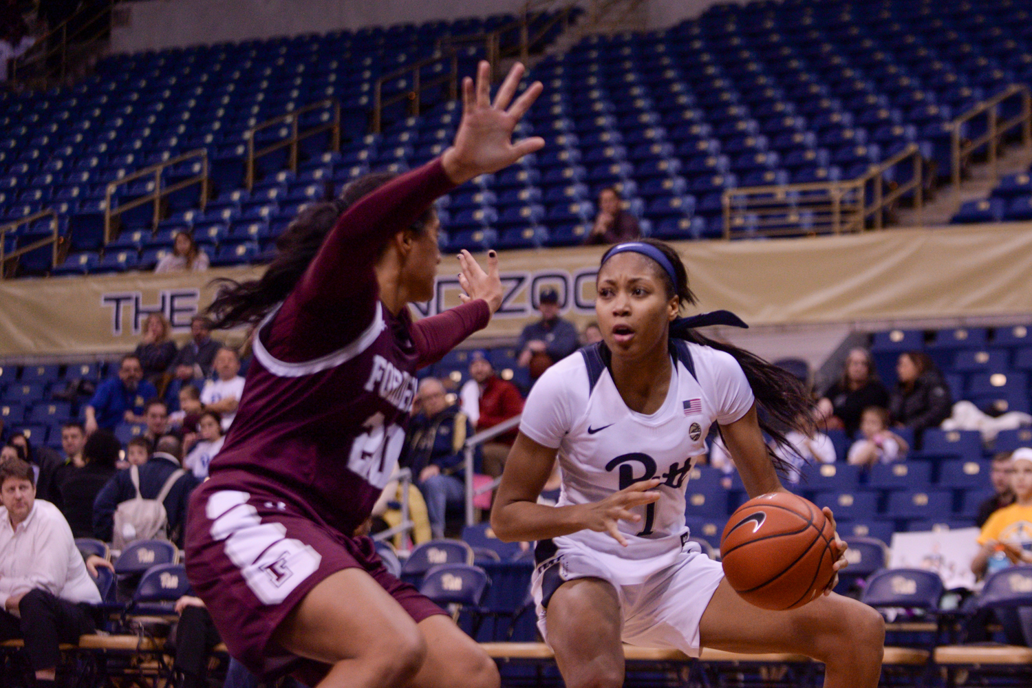 Senior forward Danielle Garven (1) drives the ball during Pitt's 65-62 victory over Fordham.