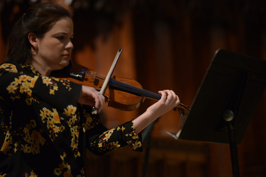 Lydia+Miller+plays+the+violin+in+Heinz+Chapel+as+one-third+of+the+Miller-Kufchak-DeBruyn+Trio.