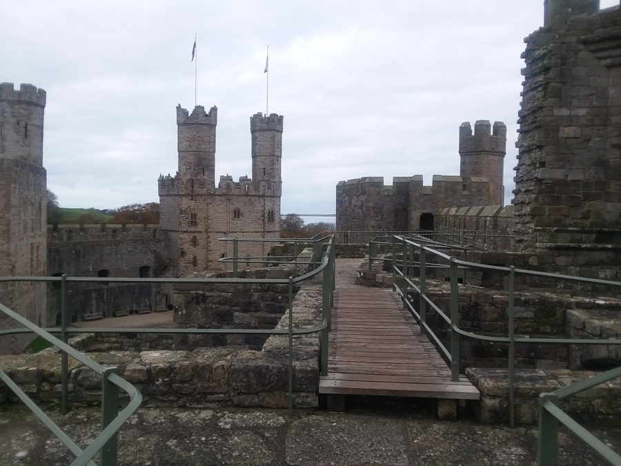 Visitors+can+climb+the+towers+of+Caernarfon+castle+that+sit+atop+the+medieval+fortress+located+in+north-west+Wales.