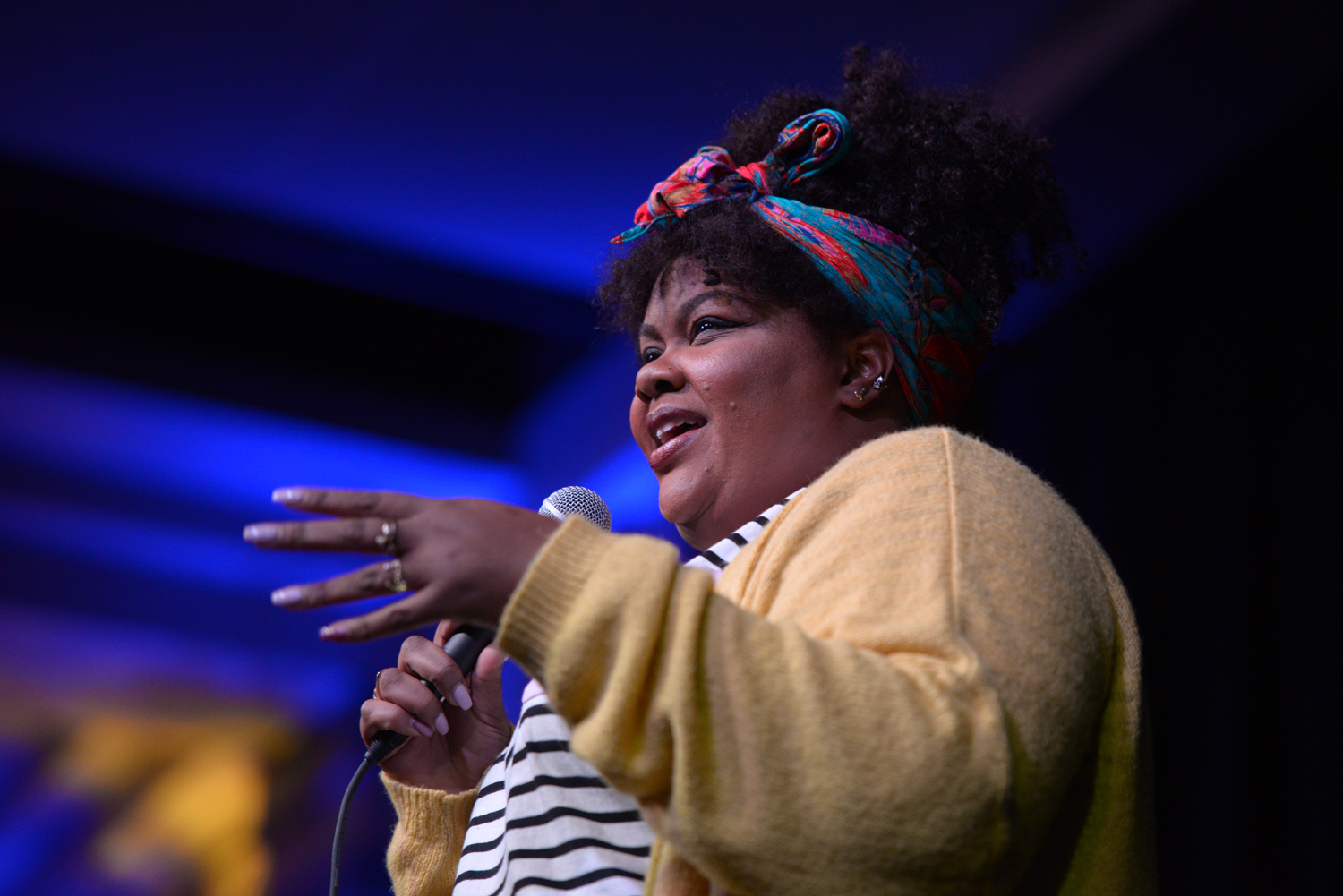 Actress and comedian Nicole Byer jokes about the size of Steve Harvey's teeth to an audience of 300 people during her stand-up performance in the WPU Assembly Room Thursday evening.