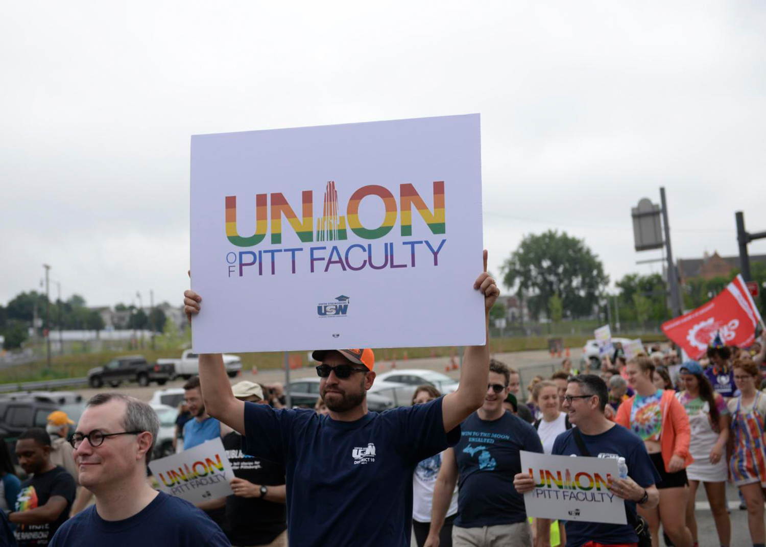University of Pittsburgh faculty unionizers at the  People's Pride parade in June 2018.