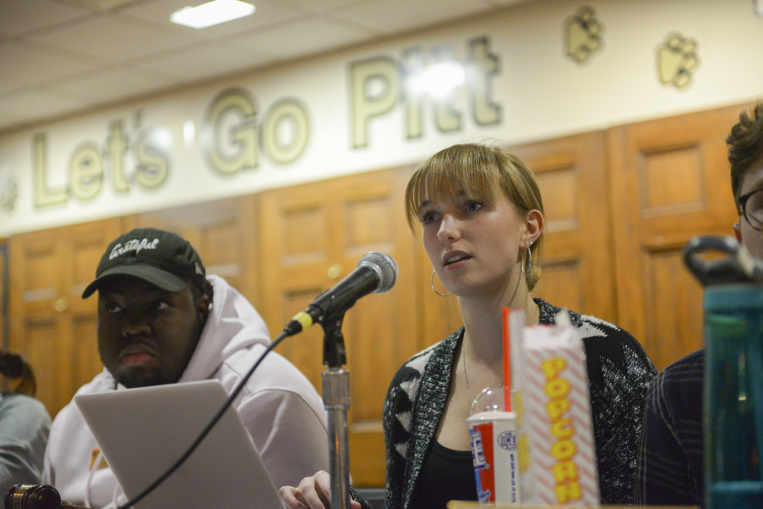 SGB President Maggie Kennedy addresses concerns regarding the impending polar vortex at Tuesday night's SGB meeting.