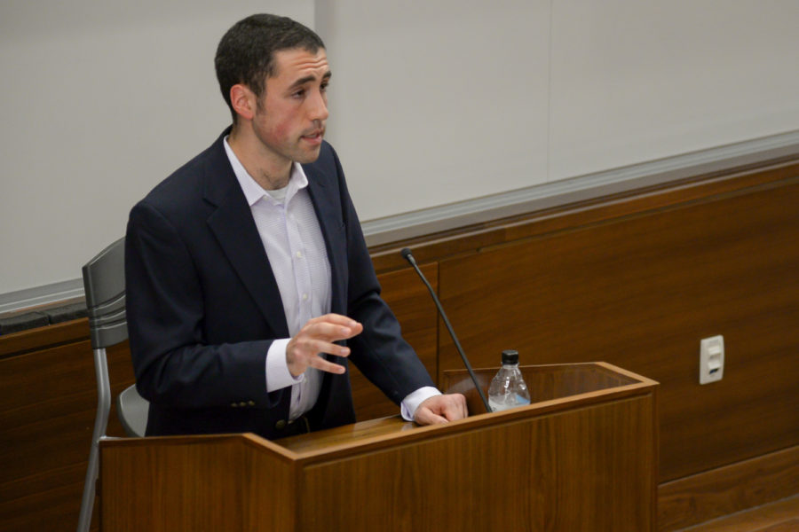 """Pittsburgh native Scott Stern discusses the history of the government-funded """"American Plan"""" program in the Pitt Public Health building Thursday evening."""