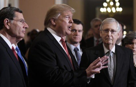 U.S. President Donald Trump, center, talks to the press after the Republican luncheon at the U.S. Capitol Building on Wednesday, Jan. 9, 2019 in Washington, D.C. (Olivier Douliery/Abaca Press/TNS)