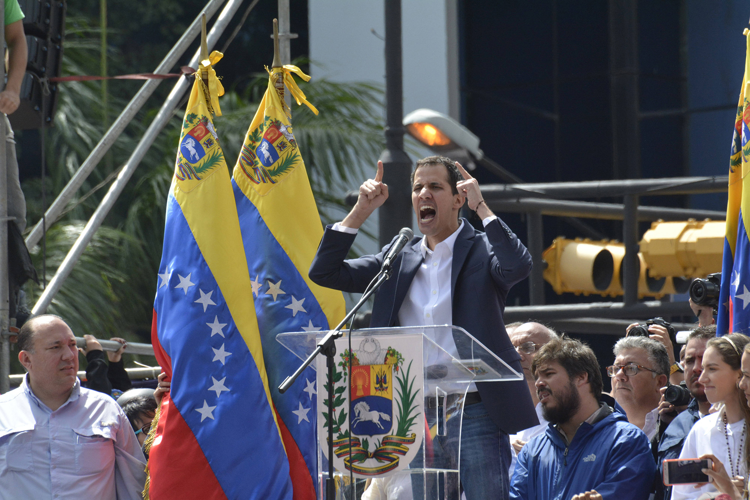 Juan Guaido, interim president of the Republic of Venezuela, and president of the National Assembly hold a public rally Jan. 23 in Caracas, Venezuela.