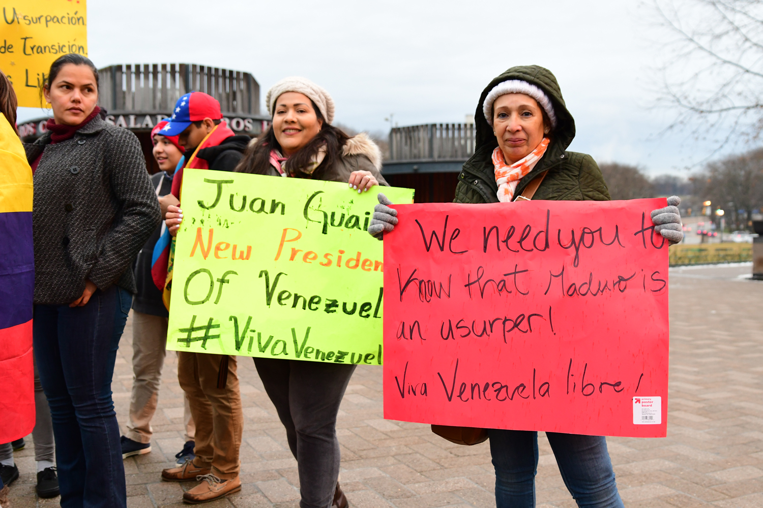 On Jan. 23, protesters in Schenley Plaza advocated for Juan Guaido over Nicolas Maduro.