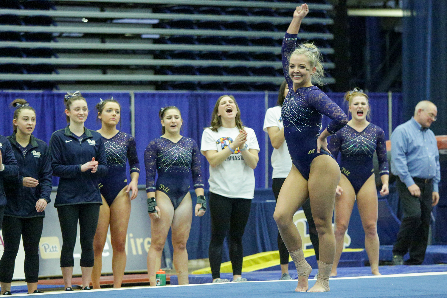 Senior Charli Spivey completes her floor performance during Pitt's 196.225-195.175 victory over New Hampshire on Jan. 20, 2018.