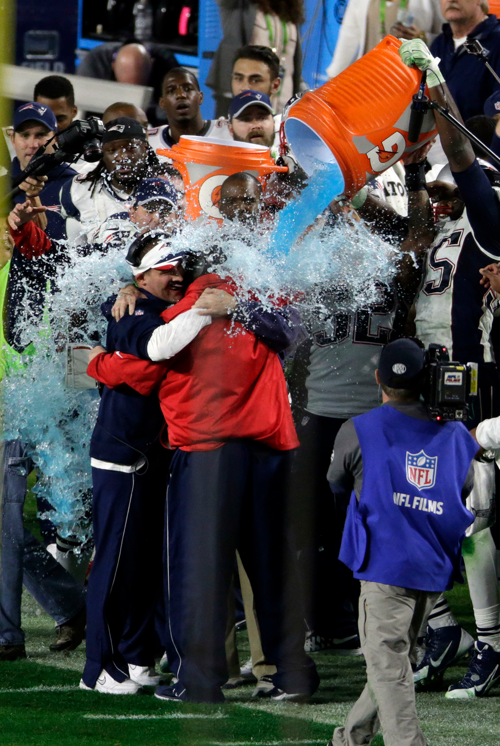Patriots coach Bill Belichick is doused with Gatorade after winning Super Bowl XLIX on February 1, 2015, at the University of Phoenix Stadium in Glendale, Arizona.