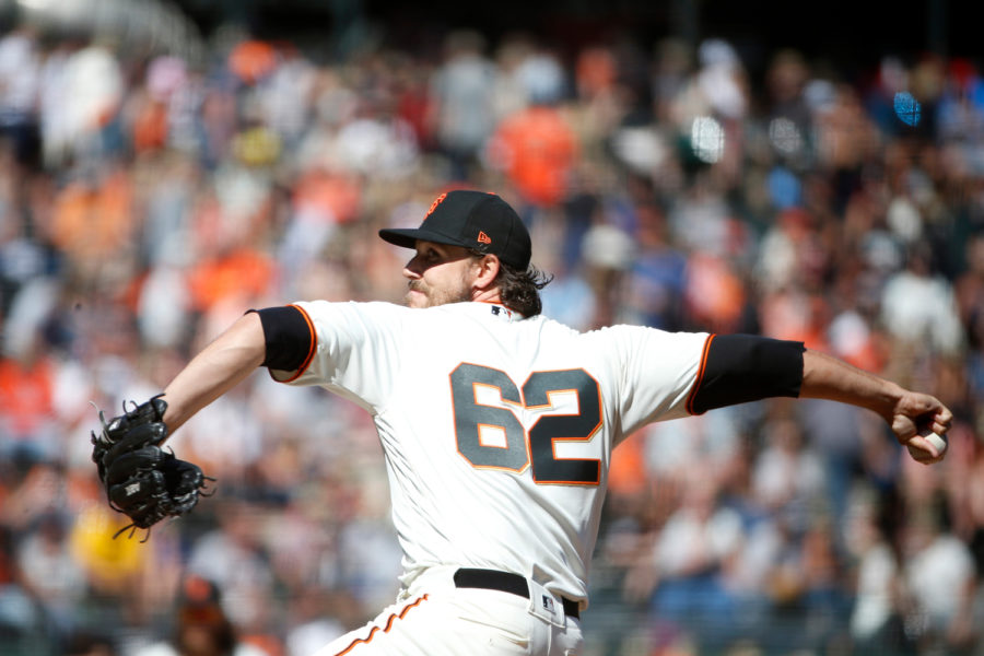 San Francisco Giants pitcher Ray Black makes his debut in the eighth inning against the St. Louis Cardinals at AT&T Park July 8, 2018.