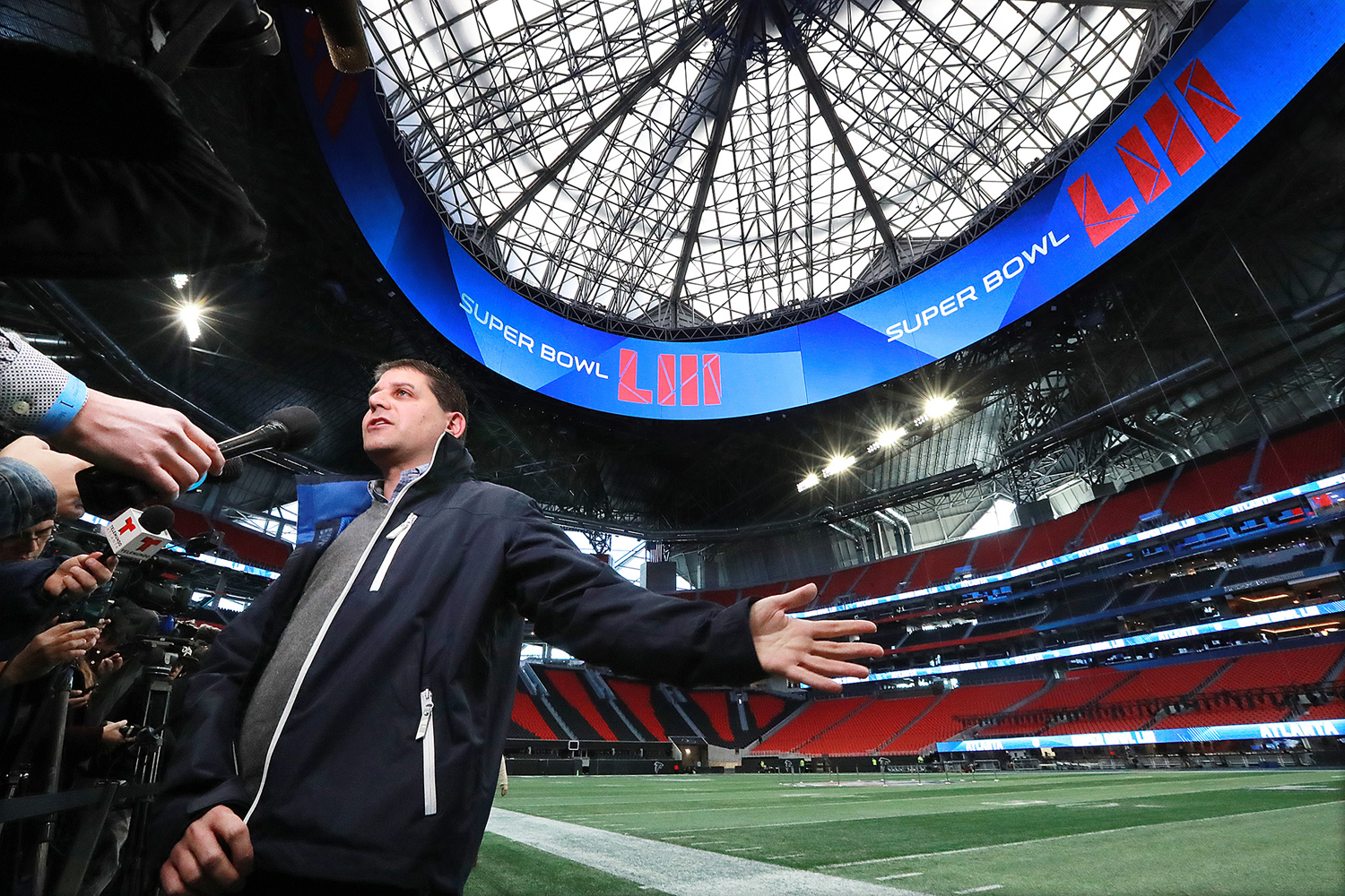 NFL senior director of event operations Eric Finkelstein takes questions from the media during a Super Bowl photo and interview opportunity inside the Mercedes-Benz Stadium in Atlanta during preparation for the game on Jan. 22.