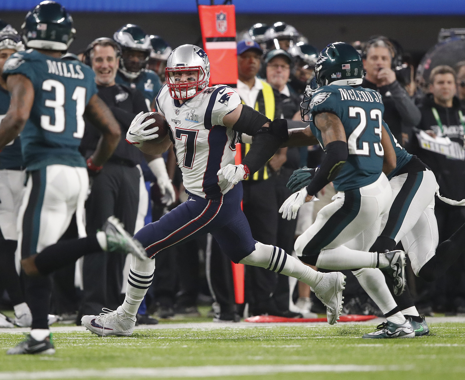 New England Patriots tight end Rob Gronkowski runs down the field after making a catch in Super Bowl LII Feb. 4, 2018, in Minneapolis. The Eagles won, 41-33.