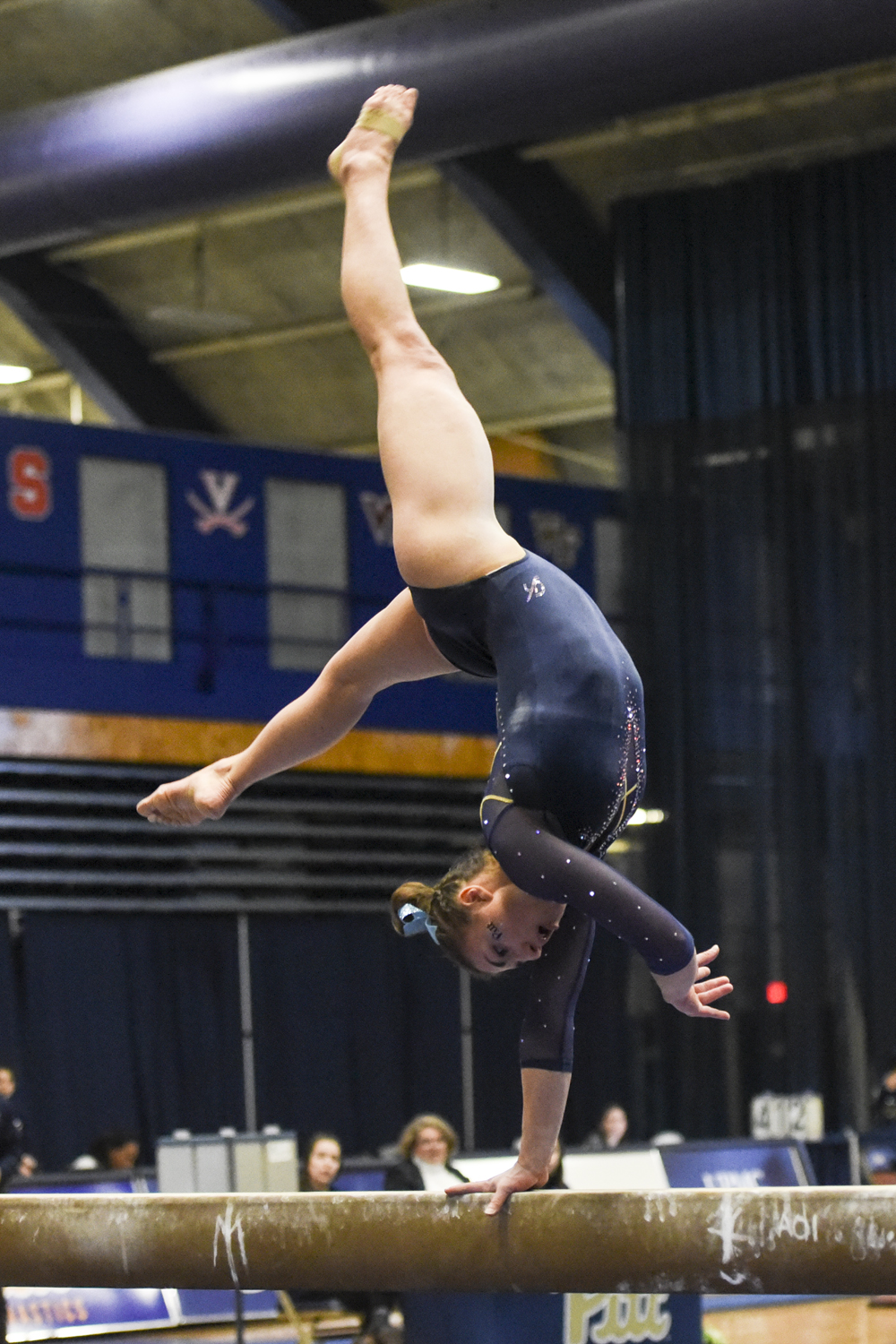 Pitt gymnastics narrowly beat George Washington University winning 195.175 to 194.625 on Saturday afternoon.