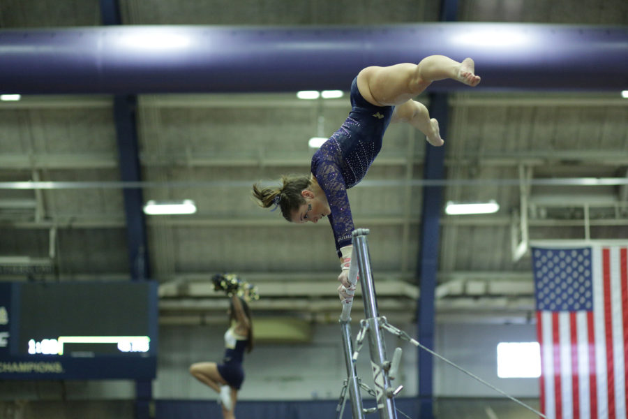 Sophomore+Haley+Brechwald%2C+pictured+here+at+a+Jan.+20%2C+2018%2C+meet+vs.+New+Hampshire%2C+received+a+score+of+9.850+on+vault.+This+score+tied+her+career+high+for+a+fifth+time.+%0A