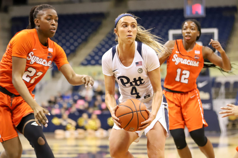 Senior guard Cassidy Walsh (4) led the Panthers with 13 points during Pitt's 82-50 loss to Syracuse Thursday evening.