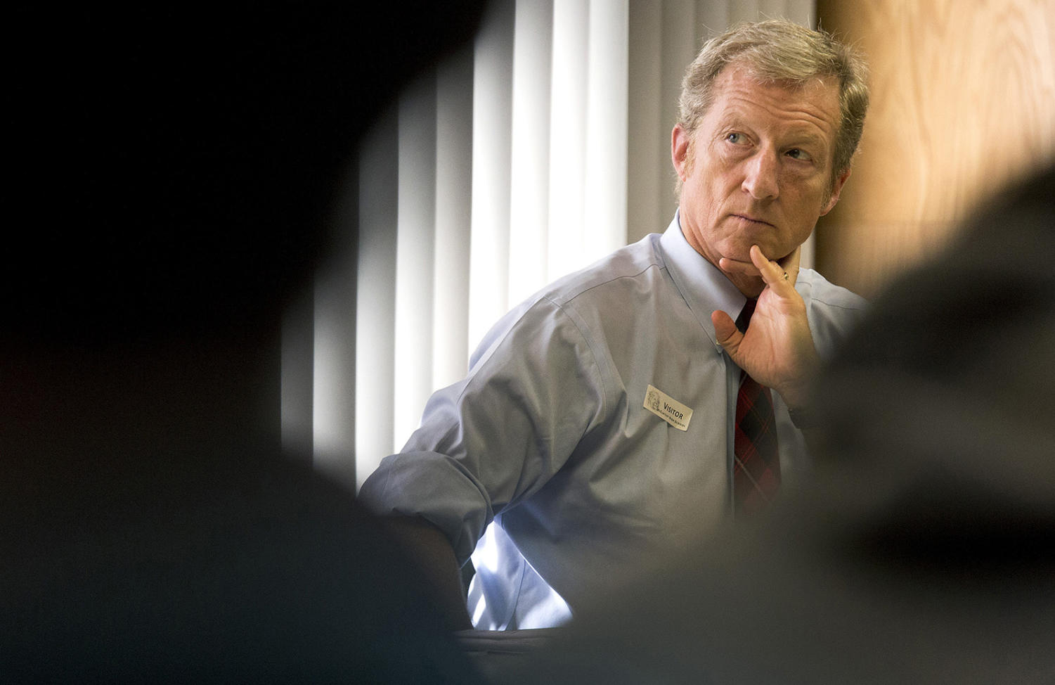 Businessman Tom Steyer listens during an E-Cigarette Education Awareness Forum at McClatchy High School in Sacramento, Calif., on January 20, 2016.